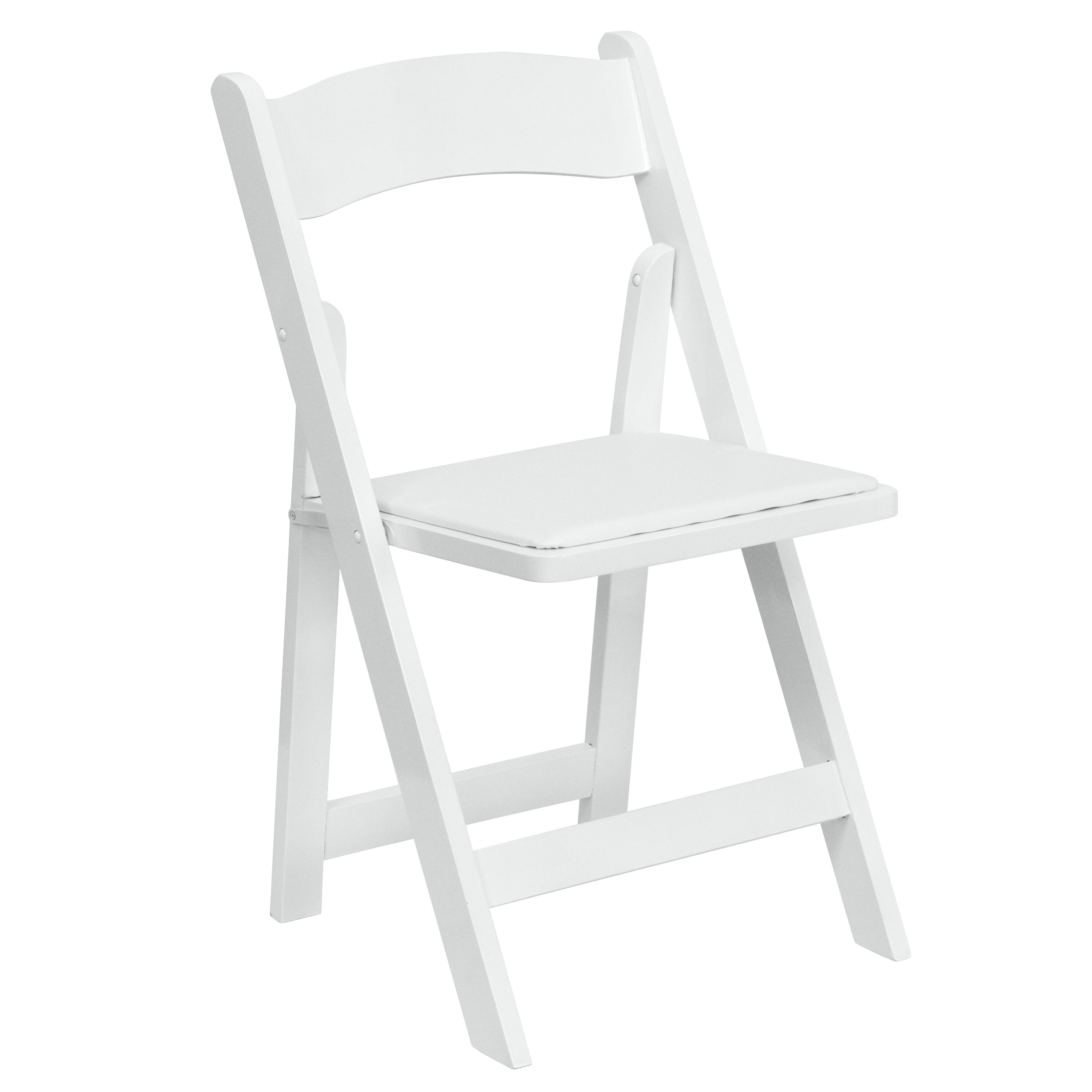 Chairs Folding Hercules Series White Wood Folding Chair With Vinyl Padded Seat