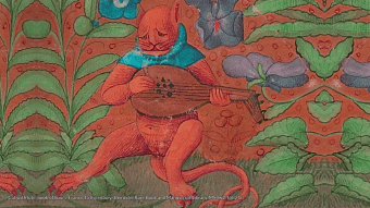 Cat with lute. book of hours, France 15th century (Beinecke Rare Book and Manuscript Library, MS 662, fol. 21r)