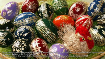 Decorating eggshells remains a potent Eastern European Easter tradition. This collection is from an exhibition of egg decorating in Bělkovice-Lašťany in the Czech Republic .