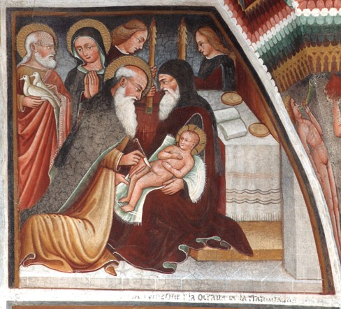 Dipinto murale ad affresco Maffiolo da Cazzano (1524 circa), Circoncisione di Gesù Bambino Chiesa del Santissimo Corpo del Signore, Algua