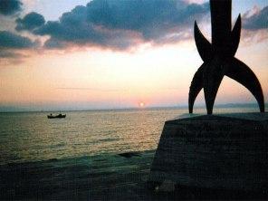 ギリシャの島の夕日