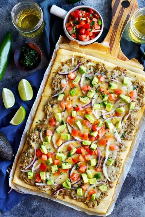 Avocado Pulled Pork Flatbread with Grilled Tomatillo Salsa Image