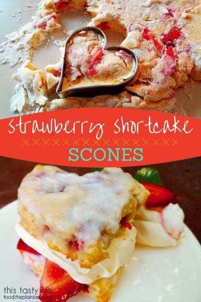 Strawberry Shortcake Scones with Coconut Cream Glaze