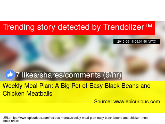 Weekly Meal Plan A Big Pot of Easy Black Beans and Chicken Meatballs