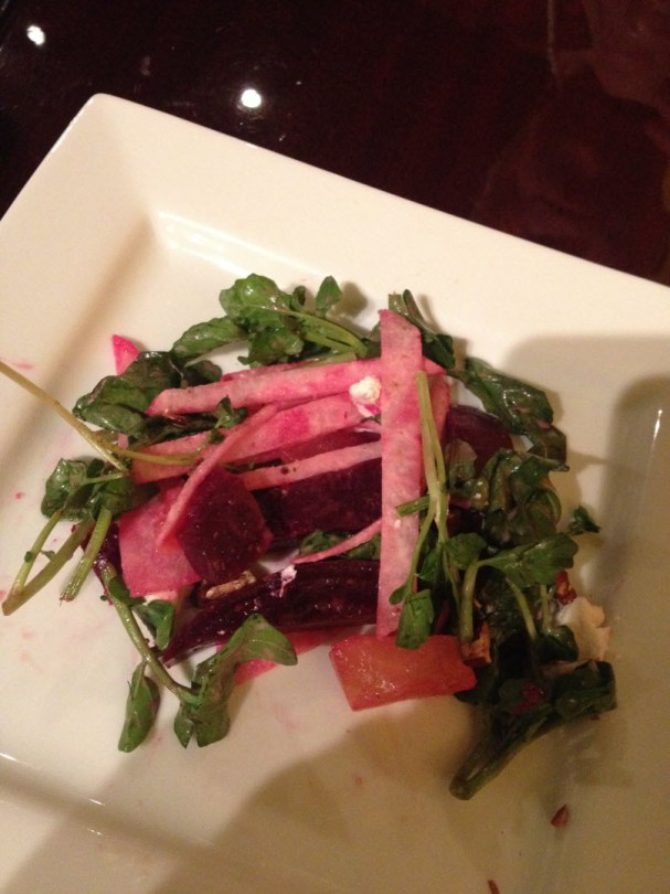 Tender red and golden beet and jicama salad
