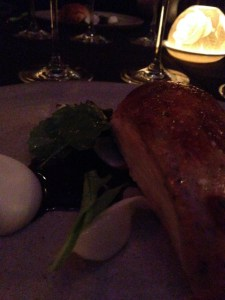 Crispy skinned chicken breast with Gold Brut