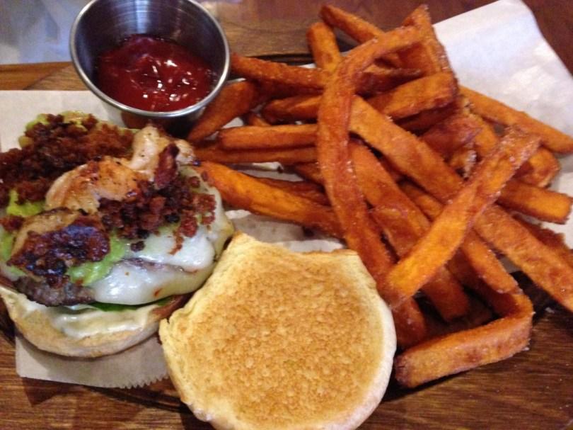 The T&B mini-burger with shrimp, chorizo and more  w/crisp-coated sweet potato fries
