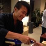 Shohei Shimokawa sampling sake