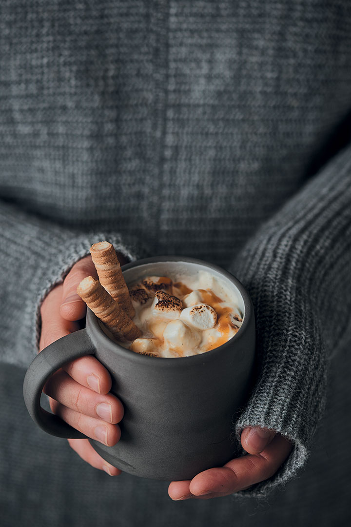 Food Trends Home-made White Hot Chocolate With Caramel And Toasted