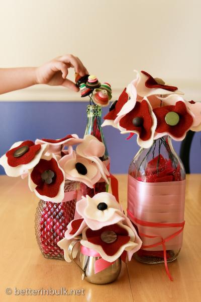 pink felt and button flower arrangements