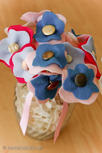 Blue felt and button flower arrangements