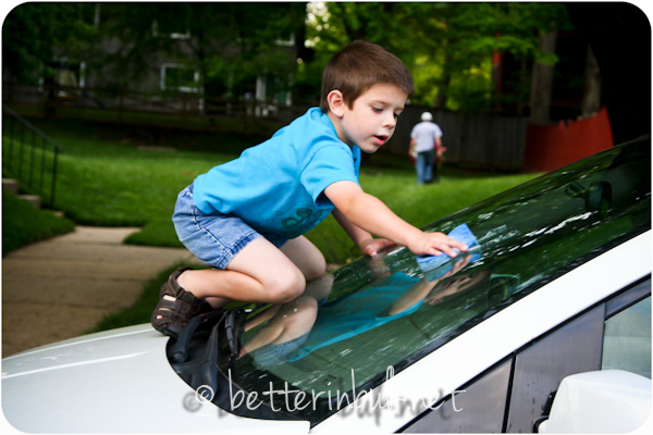 washing the car for Mother's Day