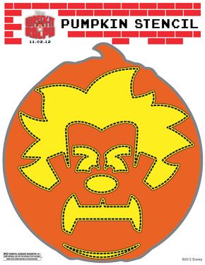 Wreck-It Ralph pumpkin stencil