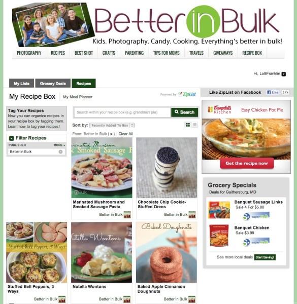 Better in Bulk Ziplist Recipe Box