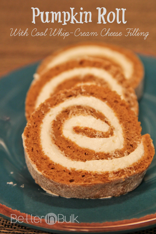 Pumpkin Roll With Cool Whip Cream Cheese Filling by Better in Bulk
