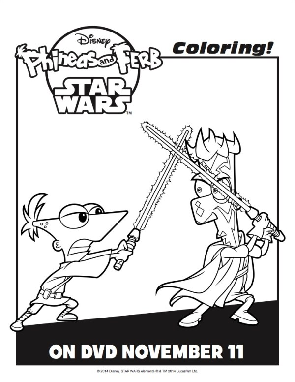 phineas and ferb star wars coloring pages - Phineas And Ferb Coloring Pages
