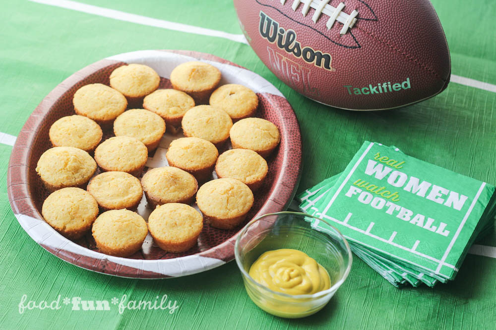 Game Day Mini Corn Dog Muffins Beef Lit'l Smokies Sausages Recipe from Food Fun Family