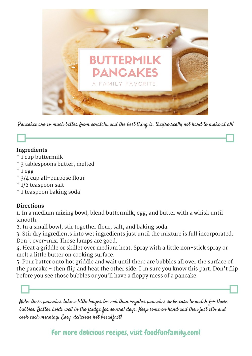 Buttermilk Pancakes recipe free download from Food Fun Family