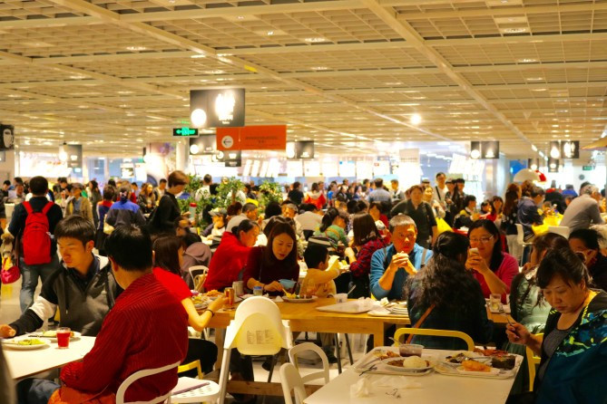 Dining Hall at Beijing's IKEA. Packed all the time!