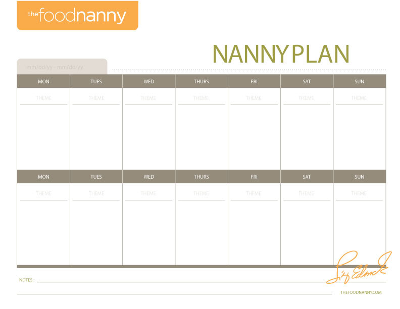 Meal Plan  Shopping List Templates The Food Nanny Liz Edmunds