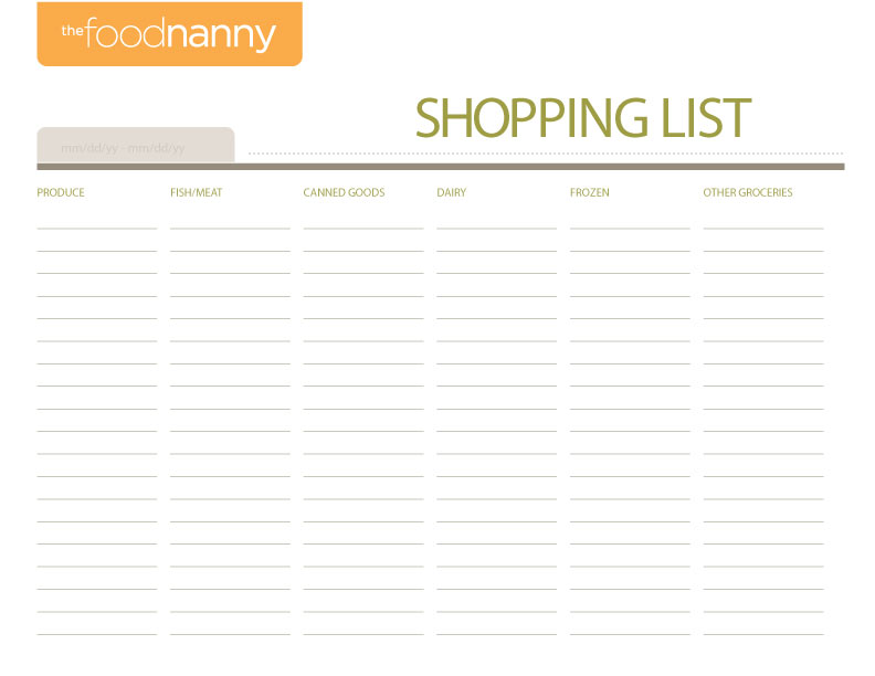 Meal Plan  Shopping List Templates The Food Nanny Liz Edmunds - meal planning template with grocery list