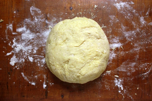 Kneaded gnocchi dough, ready to be rolled into bites.