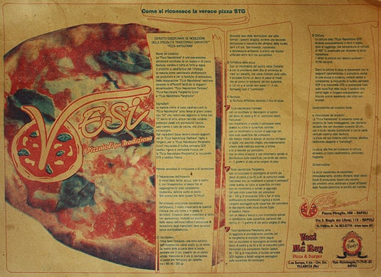 The placemat providing the recipe to make an authentic &quot;Pizza Napoletana Margherita&quot;