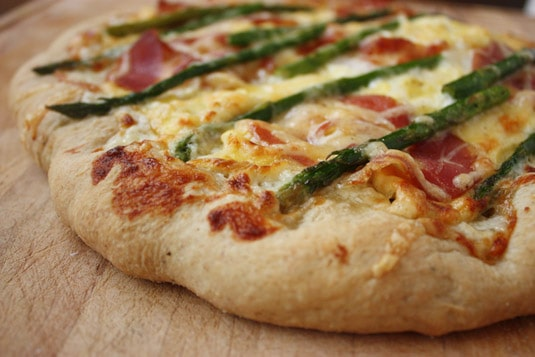 Breakfast: Scrambled Eggs, Asparagus and Pancetta Pizza