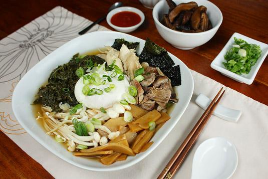 David Chang's Momofoku Ramen served with Pickled Shiitakes