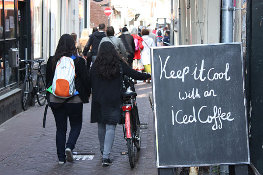Keep it cool with an iced coffee, in Amsterdam, of course.