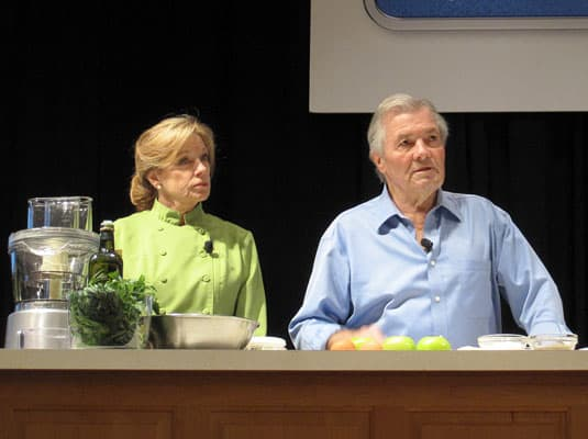 Jacques Ppin and Barbara Fenzl, culinary demonstration at the International Association of Culinary Professionals Annual Conference, Austin, Texas
