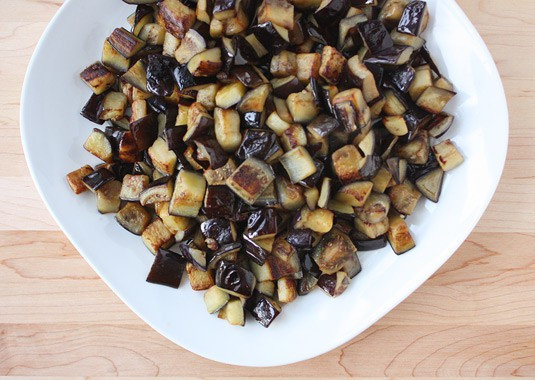 Fried eggplant cubes to make Sicilian caponata