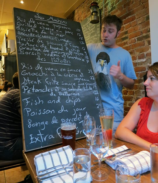 At Patente et Machin, servers carry the large and heavy blackboard to every table and proceed to describe each dish with great verve and gestures that mimic a chefs mannerisms. / FoodNouveau.com