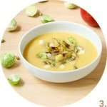 Creamy Miso Squash Soup with Seared Brussels Sprouts and Apple // FoodNouveau.com