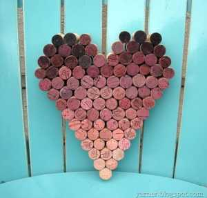 diy wine cork heart project
