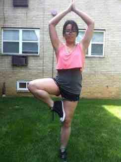 Ellie.com coral yoga outfit