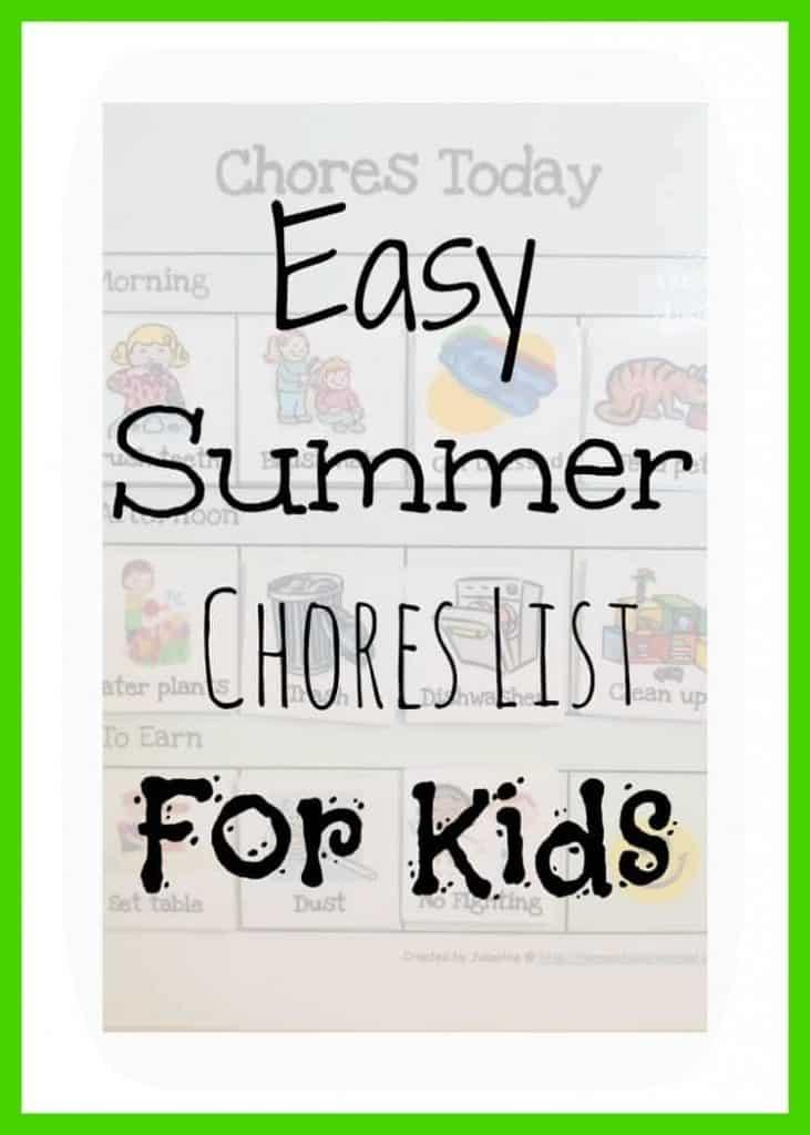 Easy Summer Chores List For Kids \u2022 Food N Service