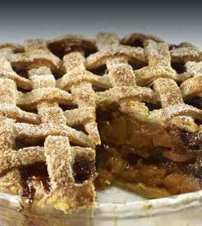 Holiday Apple Pie with Dried Fruit & Caramel Sauce |