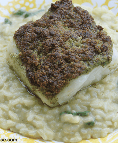 Pesto Crusted Chilean Sea Bass
