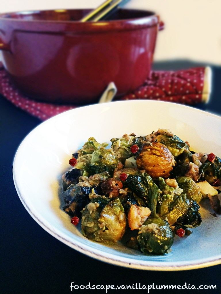 brussel sprouts with apples and chestnuts