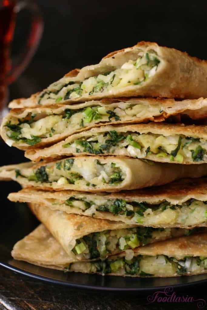 Afghani Bolani - Potato, Green Onion, and Cilantro Stuffed Flatbread