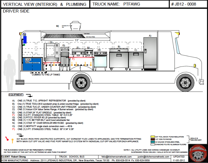 CAD driver side vertical view (interior and plumbing