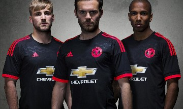 Manchester United 2015 2016 Black adidas Third Football Kit, Shirt, Soccer Jersey, Camiseta, Maillot, Trikot