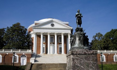 UNITED STATES - SEPTEMBER 25:  Thomas Jefferson in front of Rotunda of the University he founded, University Of Virginia, Charlottesville, Virginia  (Photo by Stephen St. John/National Geographic/Getty Images)