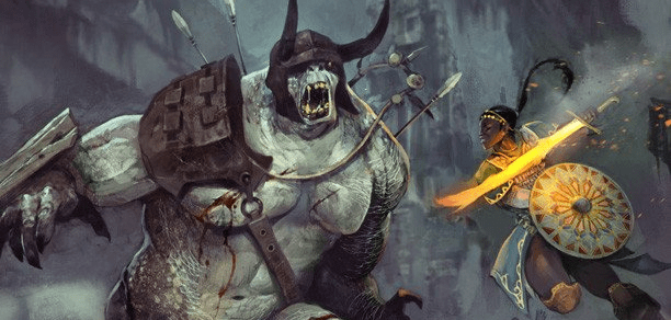 From the cover of Fantasy AGE, where bad ass women fight off big ugly monsters.