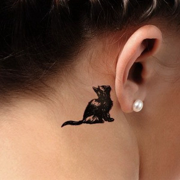 70 pretty behind the ear tattoos for creative juice for Tatoo gatos
