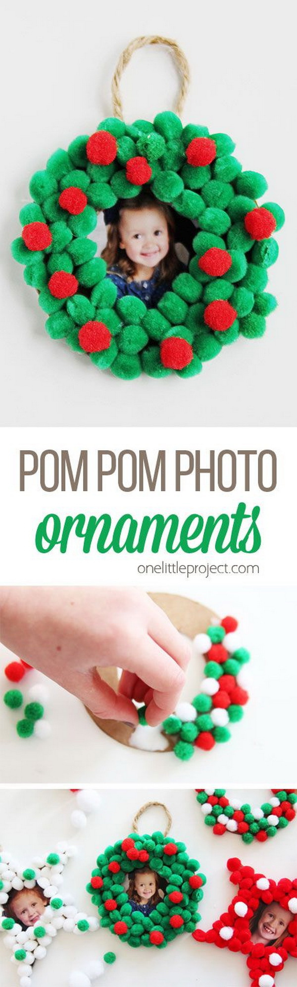 Pom Pom Christmas Photo Ornaments. Make these pom pom Christmas photo ornaments to display your pictures on your tree for years to come, or give as a gift! It is super easy that even your kids can get involved!