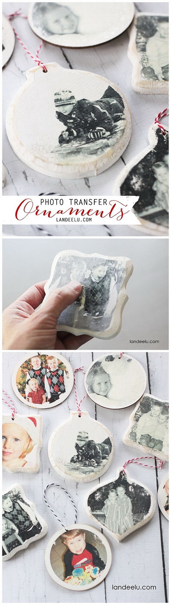 Photo Transfer Christmas Ornaments. Make these personalized ornaments that you can treasure for years with wood and any photo of you own or your families.
