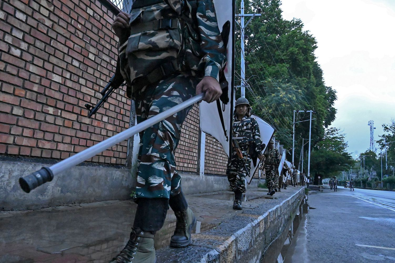 Security personnel patrol during a lockdown in Srinagar, Kashmir, on Aug. 10.