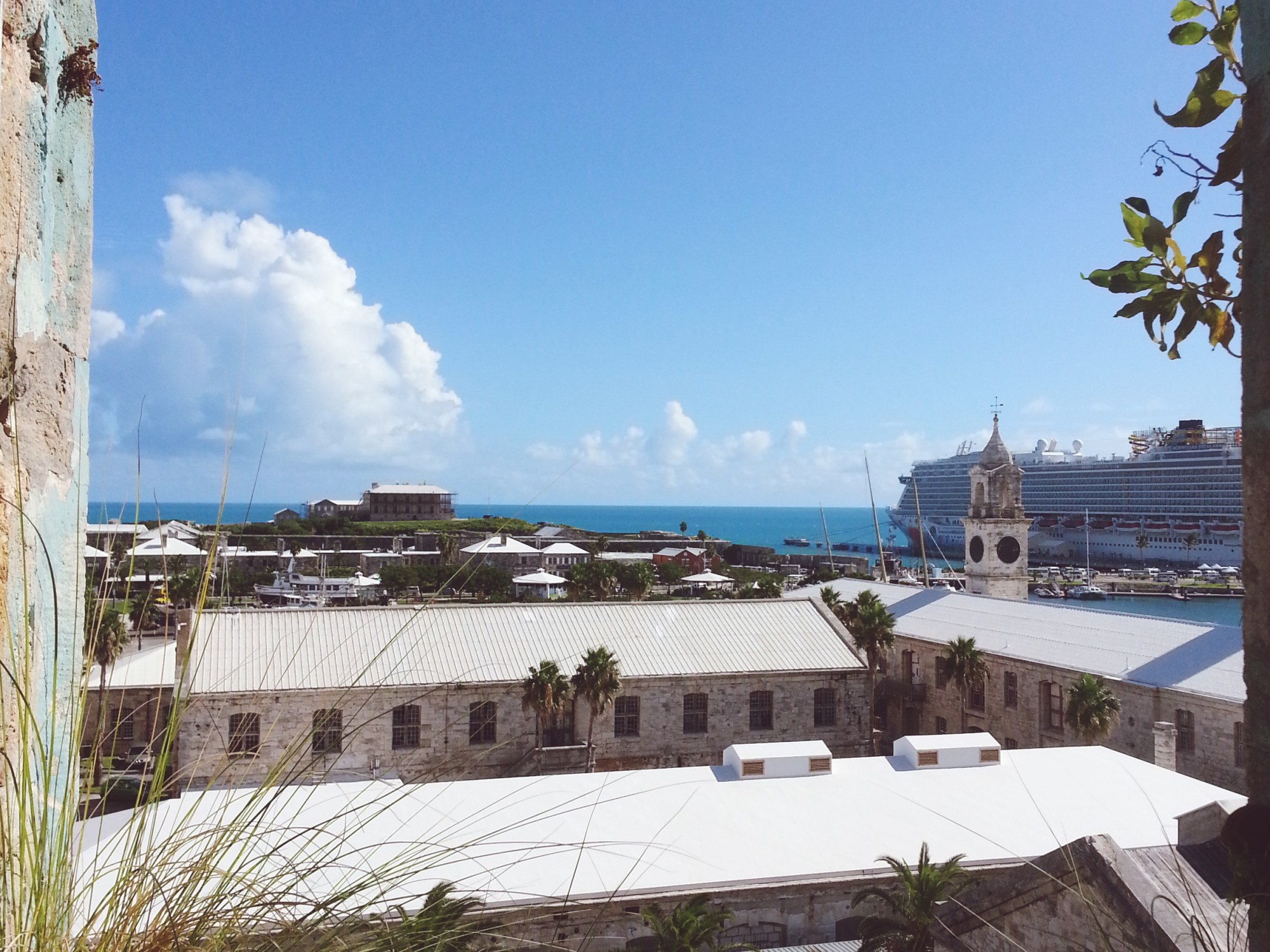 "Looking from the former prison, ""Casemates"", it is a perfect for a cruise ship to be in port."
